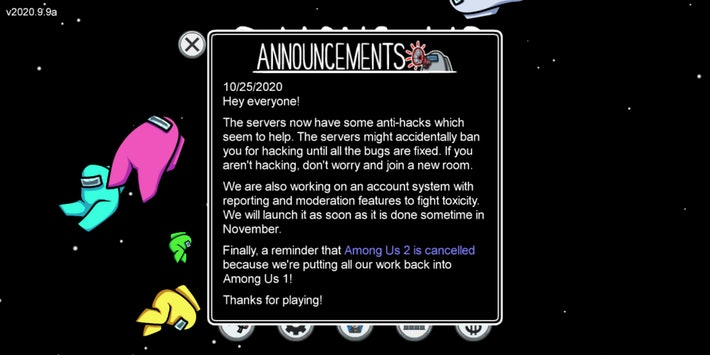 Developer announcement that appears when launching Among Us after applying the latest update.