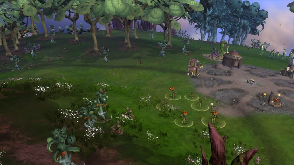 A growing society in the game Spore - Showcasing several creatures co-existing in a small community.