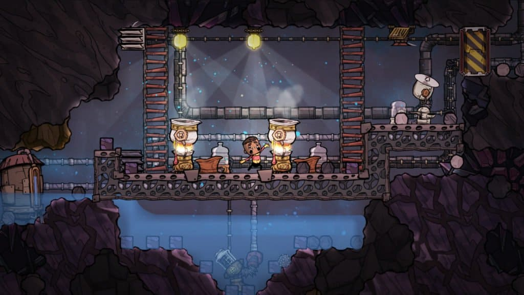 A Character in the game Oxygen Not Included looking panicked as a flaming machine in front of him is activated. He is surrounded by metal walkways above a pool of water. Keeping access to resources like food and water is key to growth - similar to Spore.