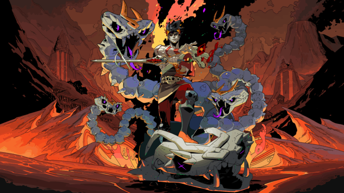 The protagonist of the game Hades stood atop a Bone Hydra, one of the games many bosses.