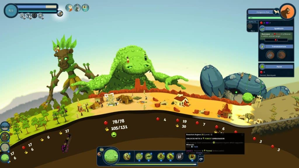 3 peaceful Gods watching over a growing settlement in the 2013 game Reus. Several indicators lie below the surface, connoting resources available to the player.