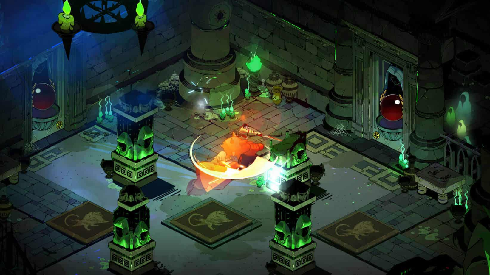 A top down view as seen in the game Hades, the players character is attacking with a weapon and hitting a large enemy known as a shade.