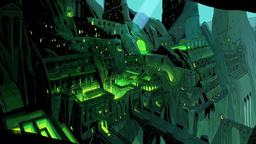 A visual representation of Tartarus, the first level players battle through on their quest out of the underworld.