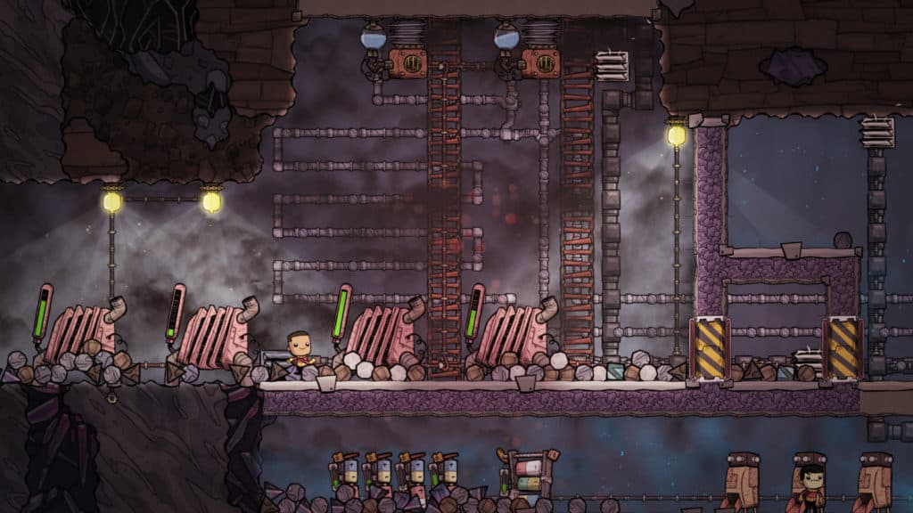 A character walking amongst an industrial centre, surrounded by rubble. Similar to the later stages of Spore - Managing resources is critical to growth.