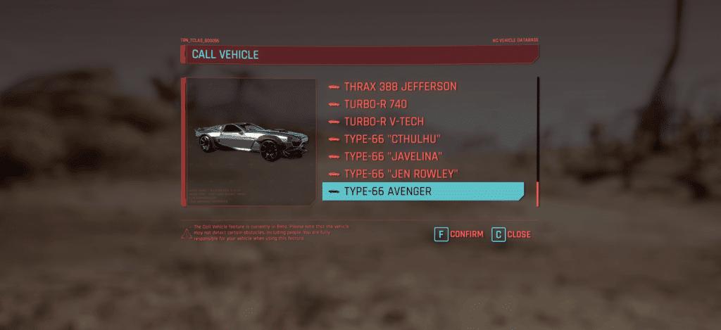 unlock all cyberpunk 2077 cars