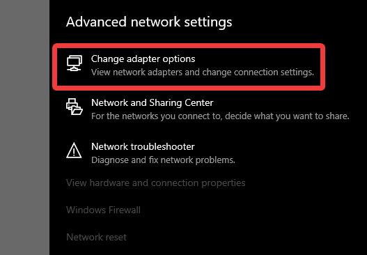 Changing adapter options allows you to configure your specific network properties