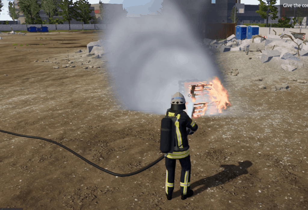 The main character extinguishing fire. One of best parts of our The Fire Fighting Simulation 2 Review