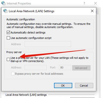Windows proxy settings