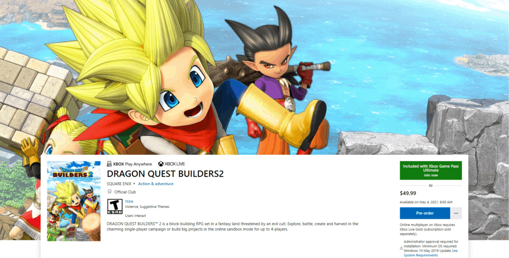 Dragon Quest Builders 2 appears in the Microsoft Store