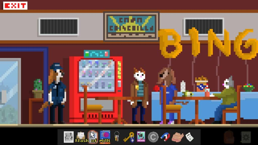 Inspector Waffles a retro-pixel art aesthetic that we talk about in our Inspector Waffles Review