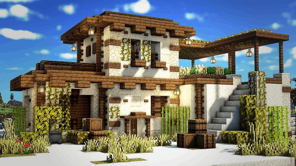 This desert house is awesome. This is one of many amazing Minecraft Building Ideas!