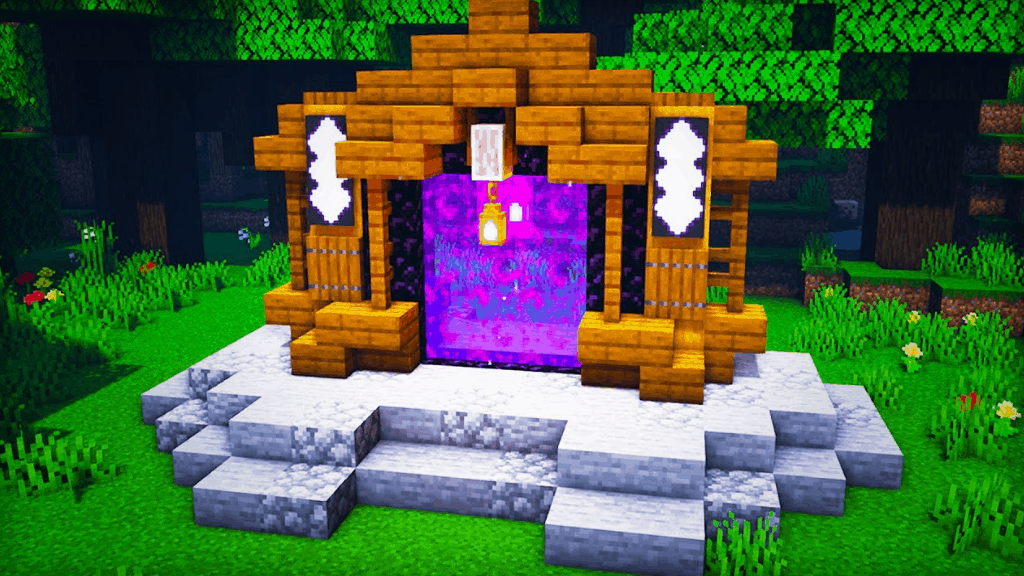 This Nether portal is one of the fun things to build in Minecraft!