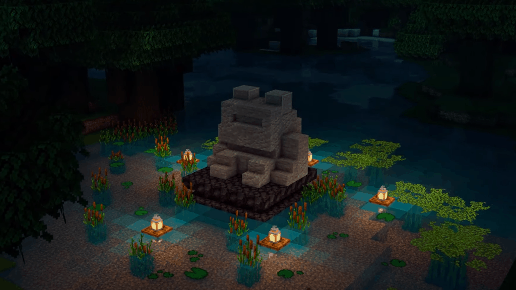 This frog fountain is a great idea for your next Minecraft projects.