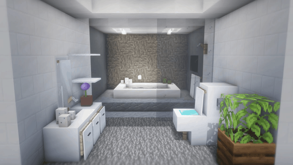 This bathroom set is one of the many cool things to build in Minecraft!