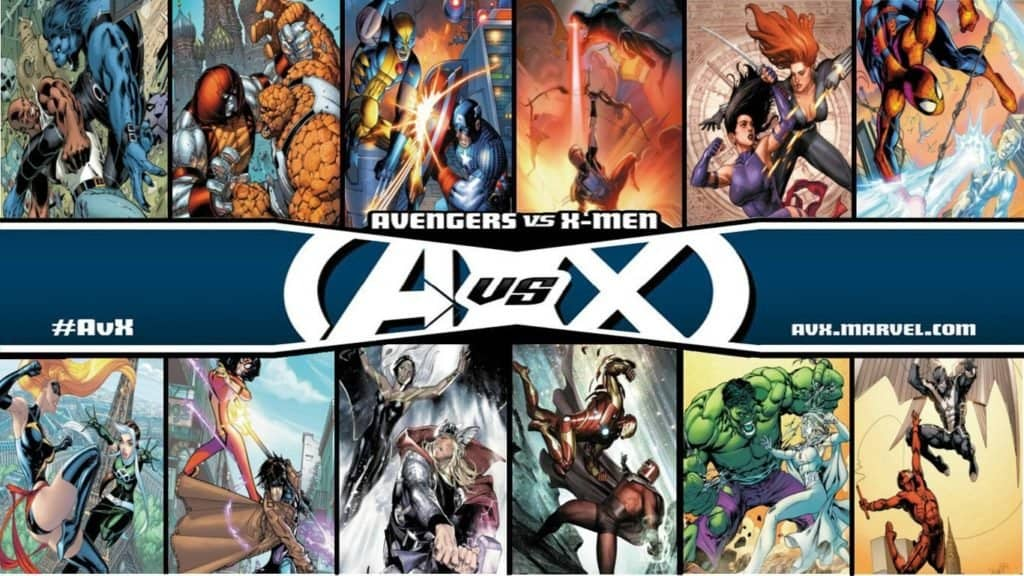 An Avengers vs. X-men poster created by a fan to simulate hyphotetical scenarios