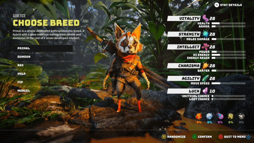 A screenshot from the main character creation screen