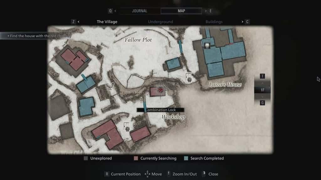 Combination lock map location