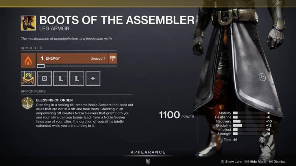 Destiny 2 Boots of the Assembler Exotic Warlock Leg Armor