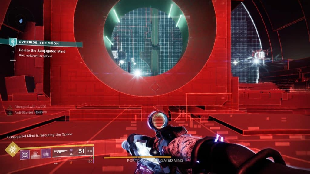 Destiny 2 Override: Moon. Find a way to return to the Subjugated Mind.
