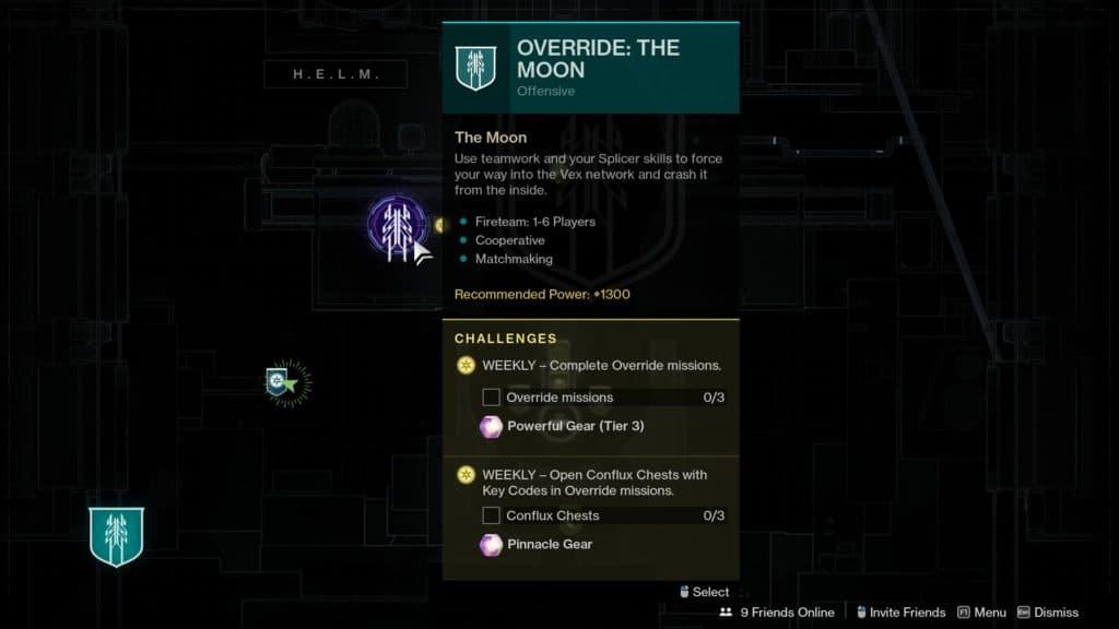 How to start the Override: Moon seasonal activity in Destiny 2: Season of the Splicer.