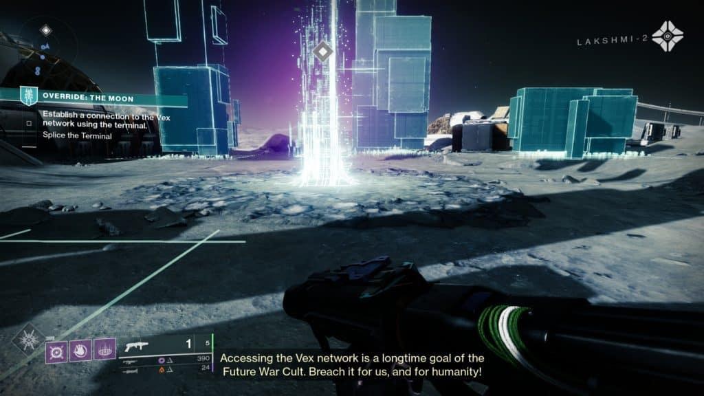Hack the Vex terminal to begin Override: Moon activity on Destiny 2: Season of the Splicer.