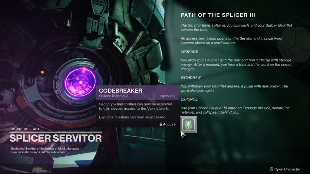 Complete Override: Tangled Shore as part of the Destiny 2 seasonal storyline to unlock Expunge