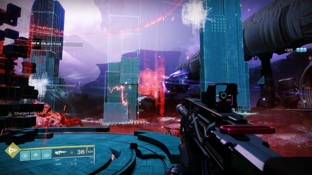 Destroy Vex security nodes in Destiny 2 Override: Tangled Shore to disable countermeasures
