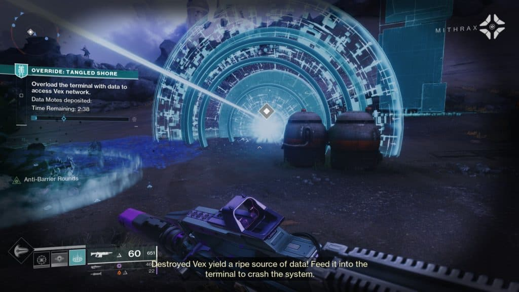 Open the Vex portal in Destiny 2 Override: Tangled Shore by depositing motes.