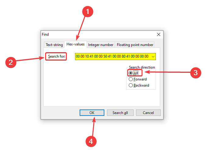 Searching for any hex-value can be done using this Window and setting the Search Direction to All