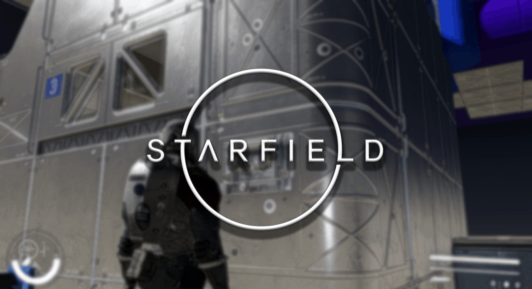 Starfield in-game screenshots of a peron possibly doing some spaceship customization