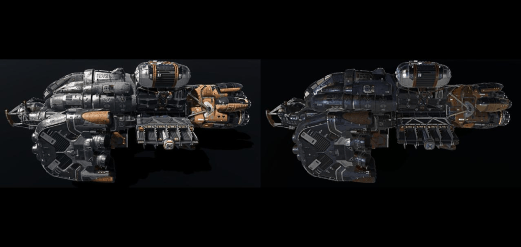 The earlier spaceship leaks compared to the new different colored spaceship leak