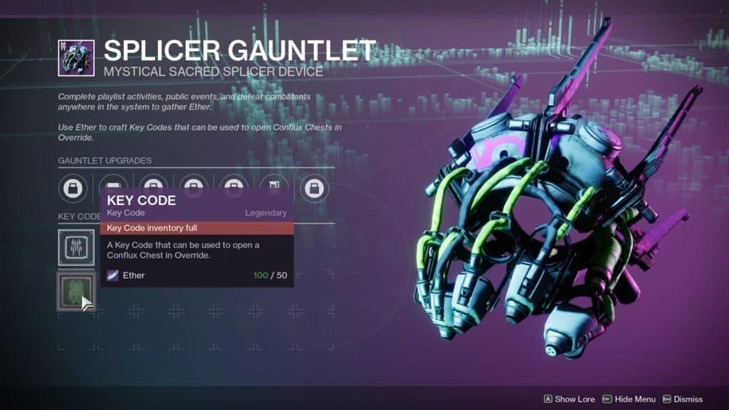 The Splicer Gauntlet is required to unlock the Override event in Destiny 2