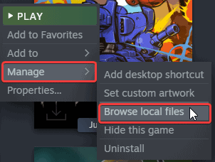 You can access the local installation folder of the game using this option