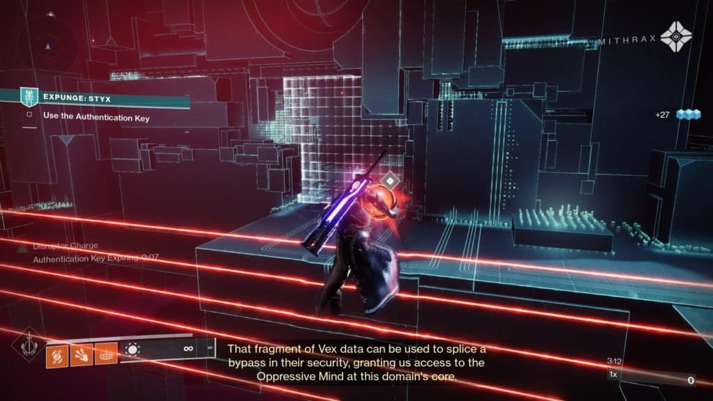 Deposit the Authentication Keys in the designated terminals to disable Vex barriers.