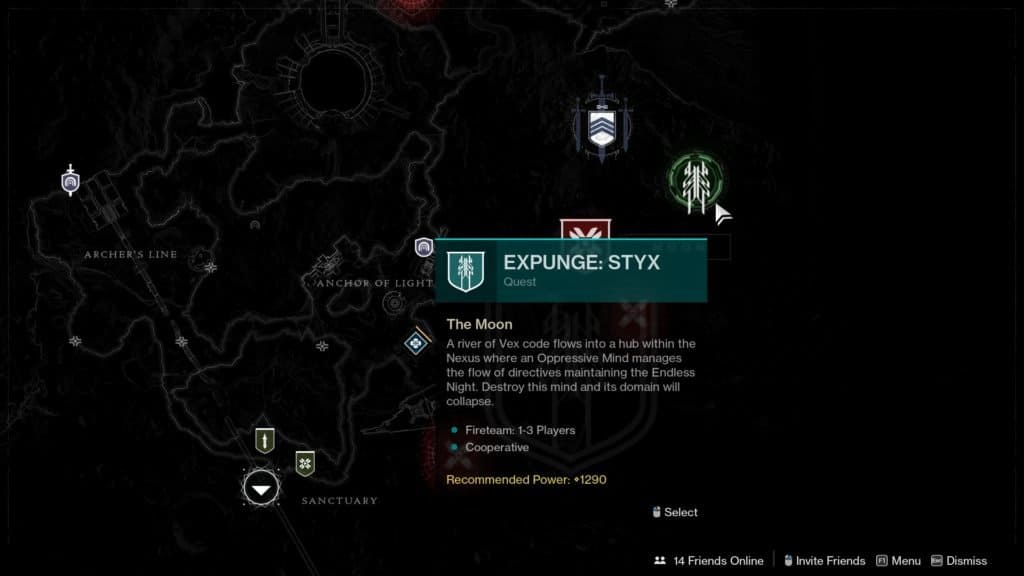 The Expunge: Styx mission in Destiny 2 can be started by visiting the Moon.