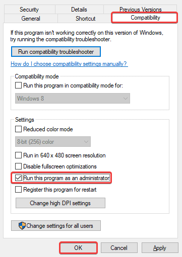 You can set the option for applications to ensure it runs as an admin